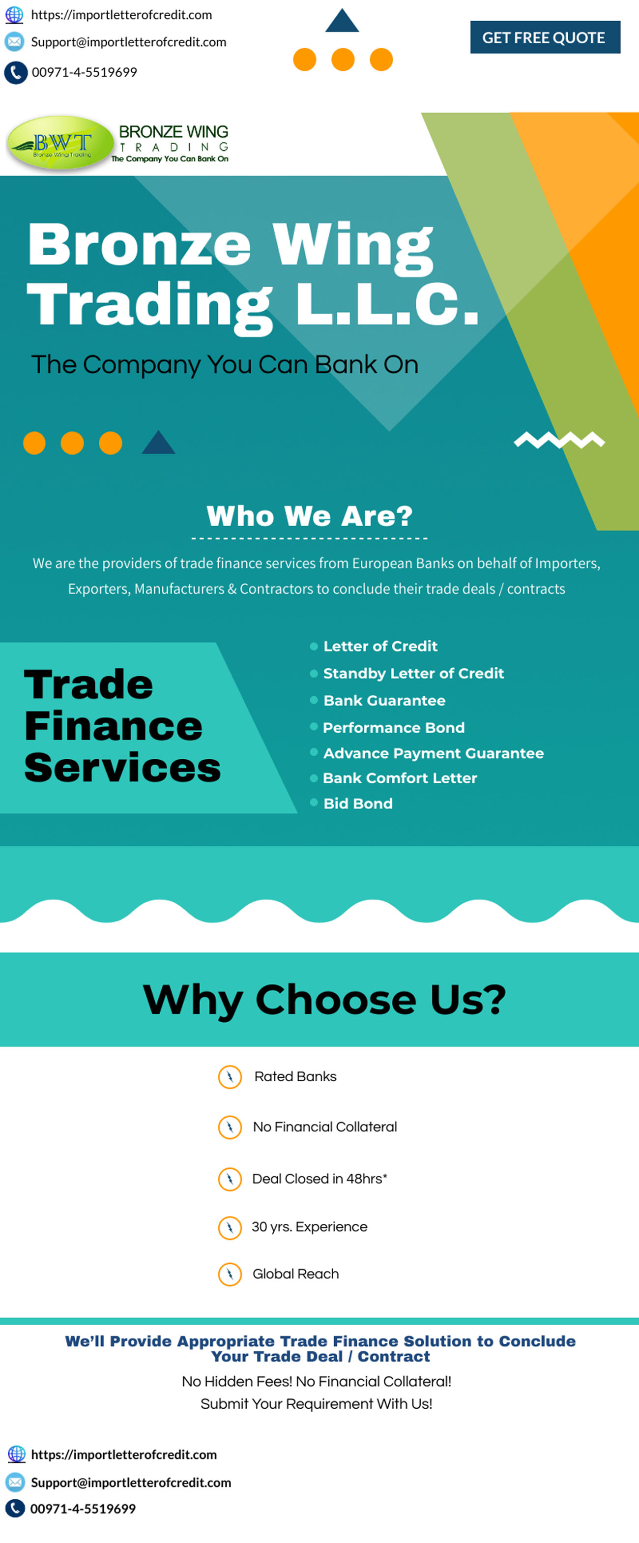 Bronze Wing Trading L.L.C. – Get LC, SBLC, BG From Rated Banks!